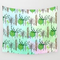 woodland Wall Tapestries featuring Woodland  by Yaz Raja Designs