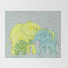 Elephant Family of Three in Yellow, Blue and Green Throw Blanket