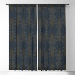 Art Deco Gold/Navy Pattern II Blackout Curtain