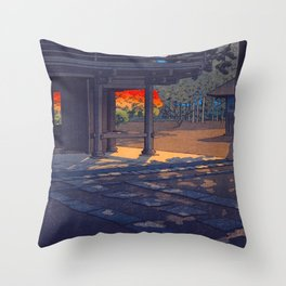 Vintage Japanese Woodblock Print Colorful Fall Trees Shinto Shrine Japanese Architecture Throw Pillow