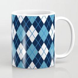 Blue White Argyle Coffee Mug