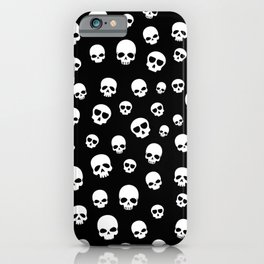 White Skulls Goth Alternative Pattern  iPhone Case