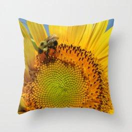 Bee A Sunflower Throw Pillow