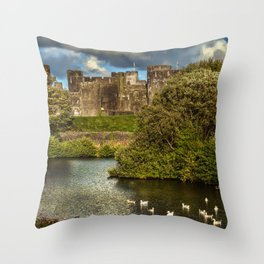 Caerphilly Castle Western Towers Throw Pillow