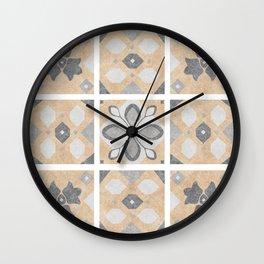 Terracotta Vintage Tiles Design Wall Clock
