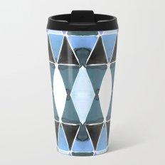 Art Deco Triangles Light Blue Travel Mug