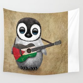 Baby Penguin Playing Palestinian Flag Acoustic Guitar Wall Tapestry
