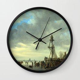 Jan van Goyen Ice Scene near a Wooden Observation Tower Wall Clock