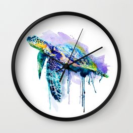 Watercolor Sea Turtle Wall Clock