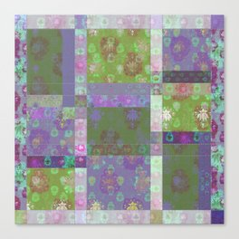 Lotus flower purple and lime green stitched patchwork - woodblock print style pattern Canvas Print