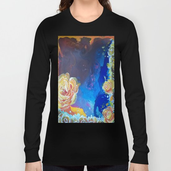 Mad Lucy's Golden Roses. Yellow Roses and Galaxy Blue. Long Sleeve T-shirt