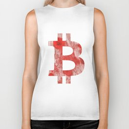 Bitcoin Red Pink streaked wash drawing Biker Tank