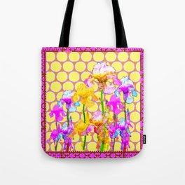 FUCHSIA-YELLOW IRIS GARDEN DESIGNS Tote Bag