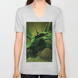 Very Fearsome Green Powerful Giant Angry Dragon Ultra HD Unisex V-Neck