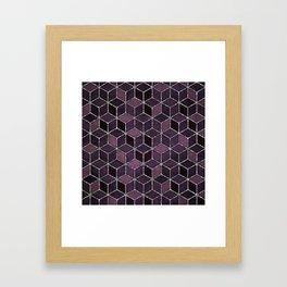 Shades Of Purple & Pink Cubes Pattern Framed Art Print