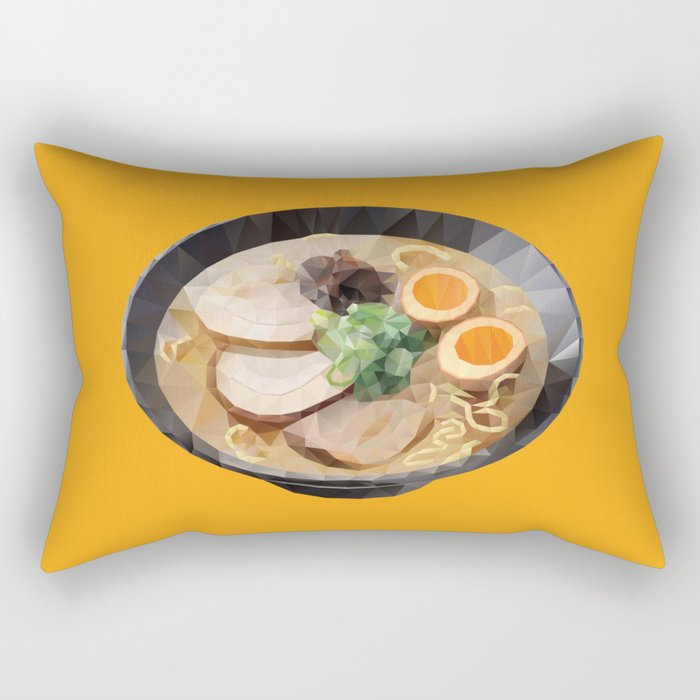 Japanese Tonkotsu Ramen Polygon Art Rectangular Pillow