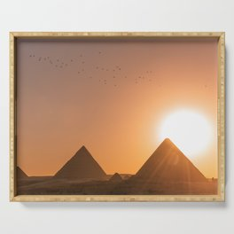 Pyramids of Giza Egypt at Sunset Photography, Egypt Travel Serving Tray