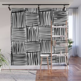 Modern Square Black on White Wall Mural