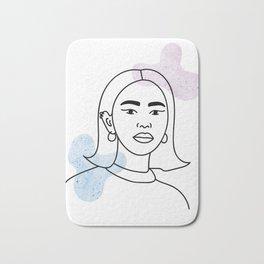 Minimalist woman portrait line art illustration Bath Mat
