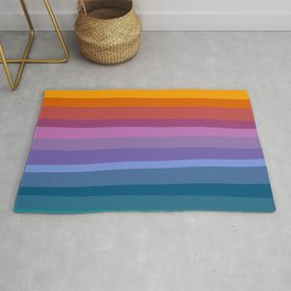 Modern Bright Rainbow Abstract Stripes Rug