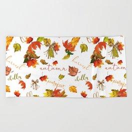 Autumn Leaves Hello Fall! Beach Towel