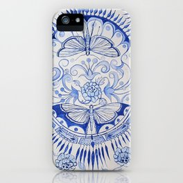 Blue Dragonfly & Rose iPhone Case