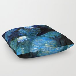 monet water lilies 1899 blue Teal Floor Pillow