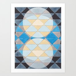Triangle Pattern No. 14 Circles in Black, Blue and Yellow Art Print