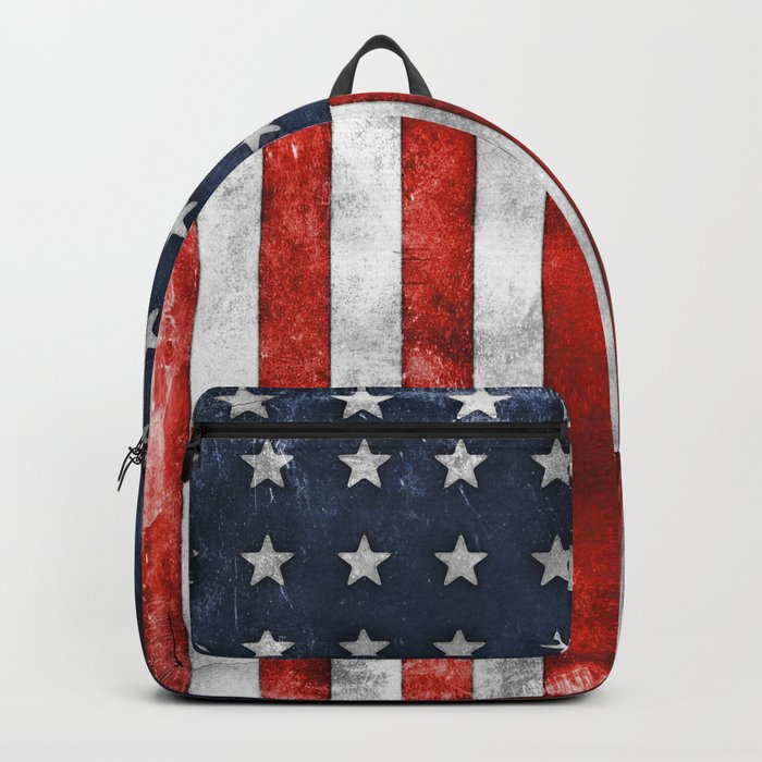 American Flag Stars and Stripes Distressed Grunge Backpack