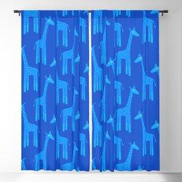 Giraffes-Blue Blackout Curtain
