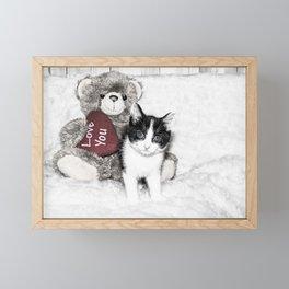 Valentines kitten and teddy Framed Mini Art Print