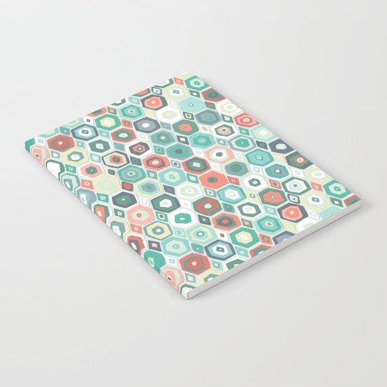hex diamond coral mint Notebook