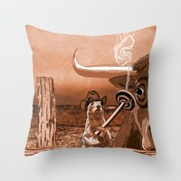 chicago bulls Throw Pillows featuring Bulls Eye by Laura Brightwood