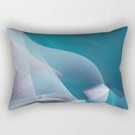 Abstract waves turquoise Rectangular Pillow