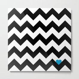 Heart & Chevron - Black/Blue Metal Print