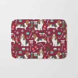 Basset Hound christmas pattern christmas dog breed pet friendly gifts Bath Mat