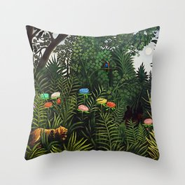 Jungle with Tiger and Hunters by Henri Rousseau Throw Pillow
