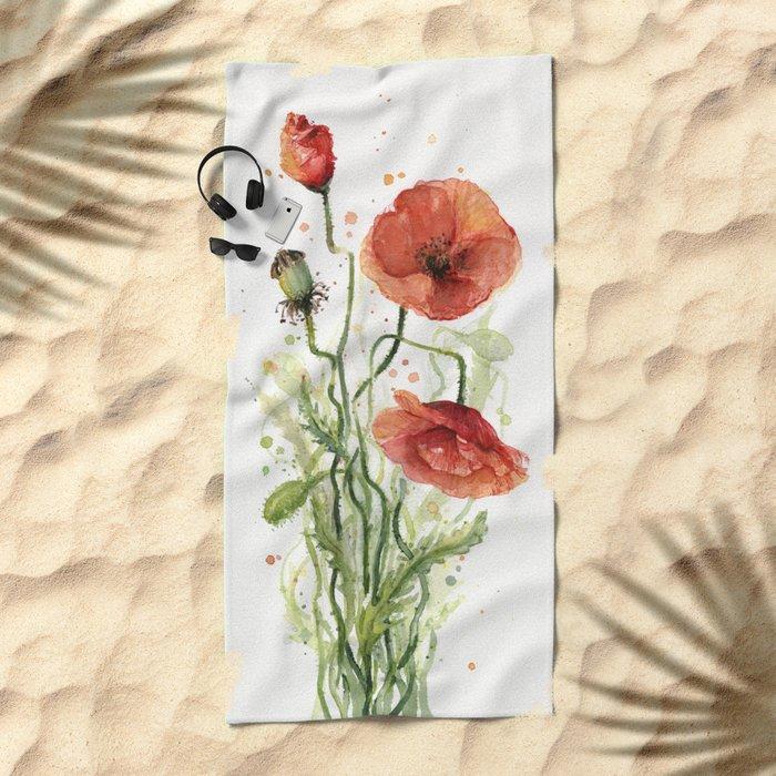 Red Poppies Watercolor Flower Floral Art Beach Towel