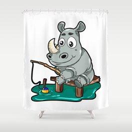 Fishing Rhino Rhinoceros Fisher Cartoon Gift Comic Shower Curtain
