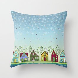 Doodle Houses Throw Pillow