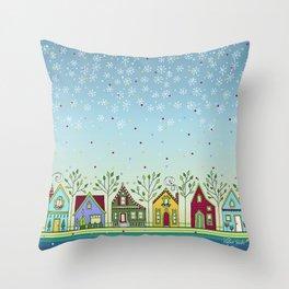 Doodle Houses Throw Pillow