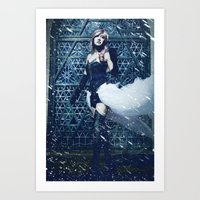 lightning Art Prints featuring Lightning by Imustbedead
