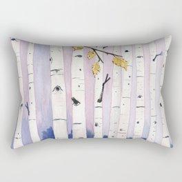 Birch Trees Watercolor Rectangular Pillow