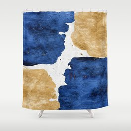 Gold and Navy Blue paint Shower Curtain