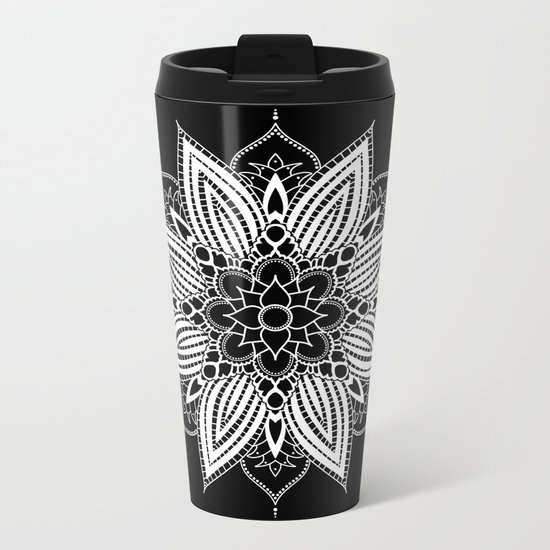 Black and White Flower Mandala Metal Travel Mug