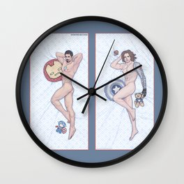 Tony and Bucky Heroic Nude Pinups Wall Clock