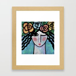 Roses Abstract Digital Portrait of a Woman Framed Art Print