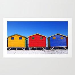 Beach Cabins in South Africa Art Print
