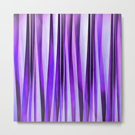 Luxurious Lilac, Purple and Silver Stripy Pattern Metal Print