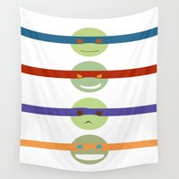 turtles Wall Tapestries featuring 2k7 Turtles by DeblueTheDrawer
